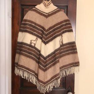Vintage Merino and llama poncho size M
